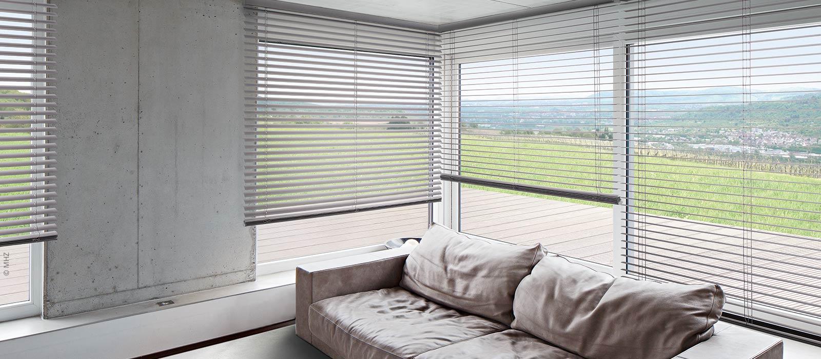 Ansicht eines modernen Wohnzimmers mit Horizontal-Jalousie