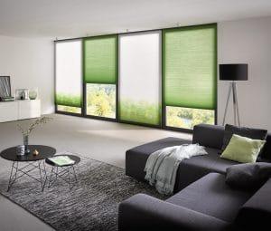 Grüne Plissees im Wohnzimmer © MHZ